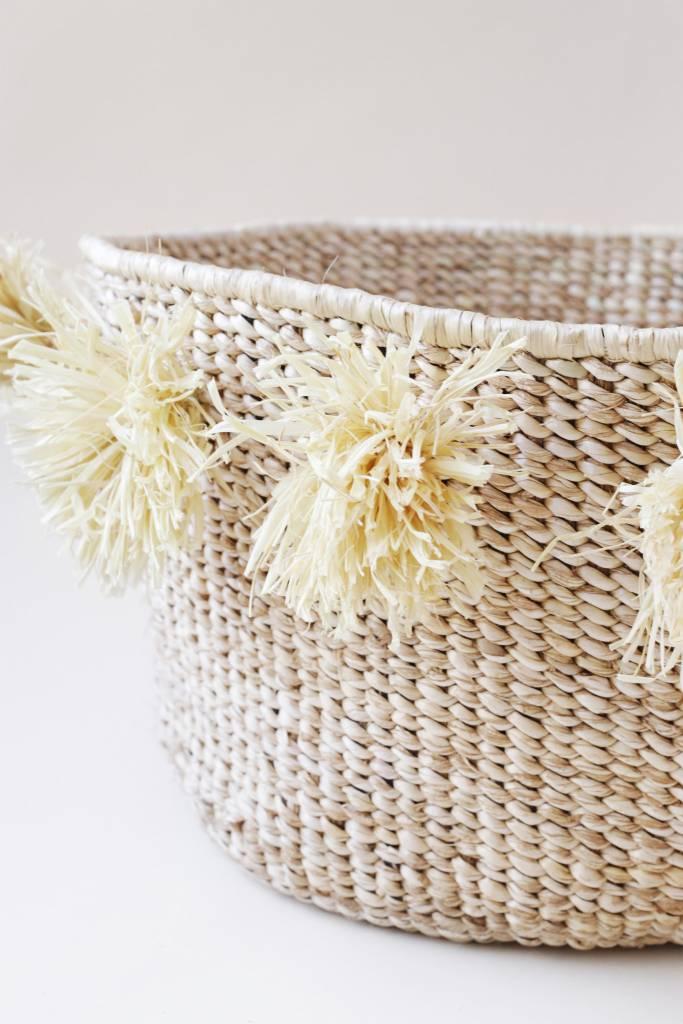 INDEGO AFRICA Indego Africa Pom Pom Banana Leaf Floor Basket