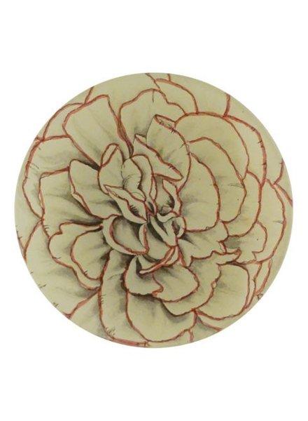 JOHN DERIAN Pink Trimmed Flower Round Plate
