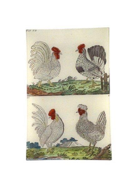 JOHN DERIAN John Derian Wilhem's Birds Rooster & Hen Wall Tray