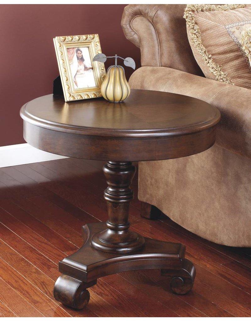 Signature Design Brookfield, Round End Table, Dark Brown T496-6