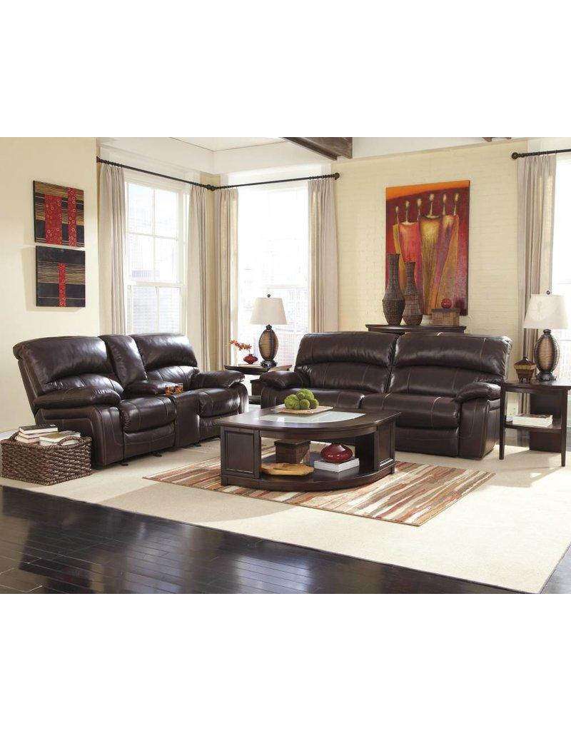 Signature Design Damacio, 2 Seat Reclining Power Sofa, Dark Brown U9820047