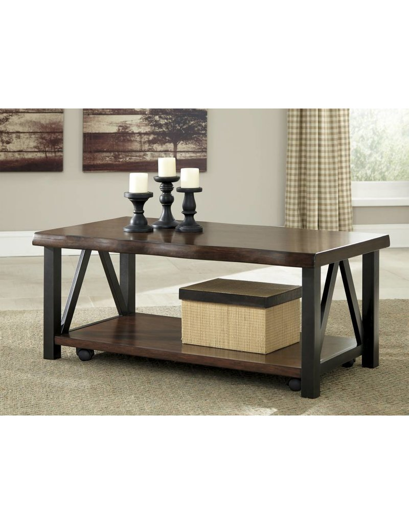 Signature Design Esmarina, Rectangular Cocktail Table, Walnut Brown T815-1