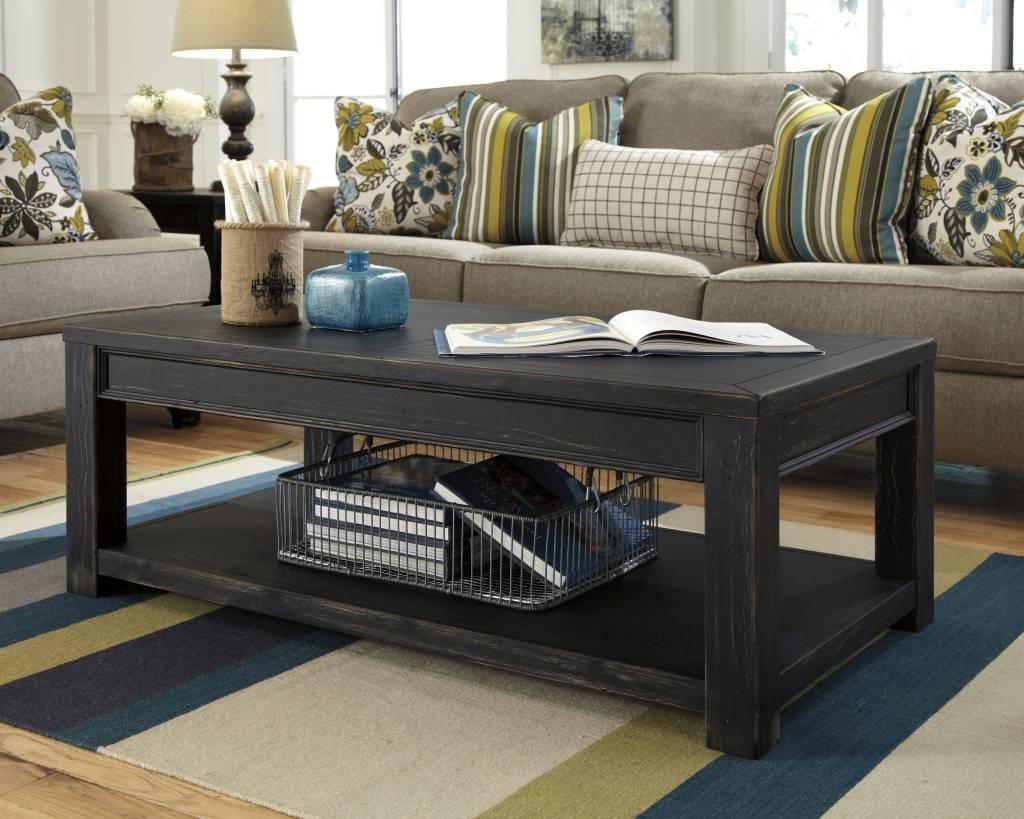 Signature Design Gavelston, Rectangular Cocktail Table, Black T732-1