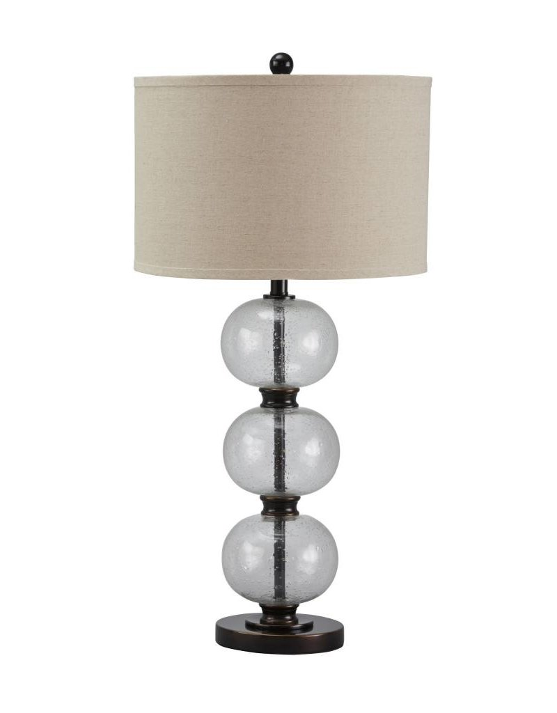 Signature Design Maleko, Glass Table Lamp, Clear/Bronze Finish L430314