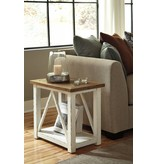 Signature Design Marshone, Chairside End Table, White Light Brown T843-7