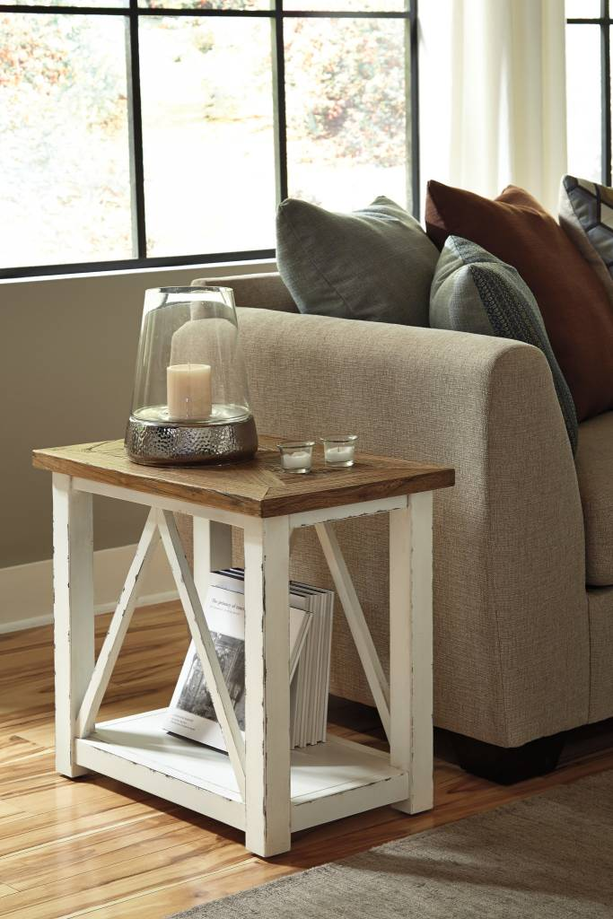 Signature Design Marshone Chairside End Table White
