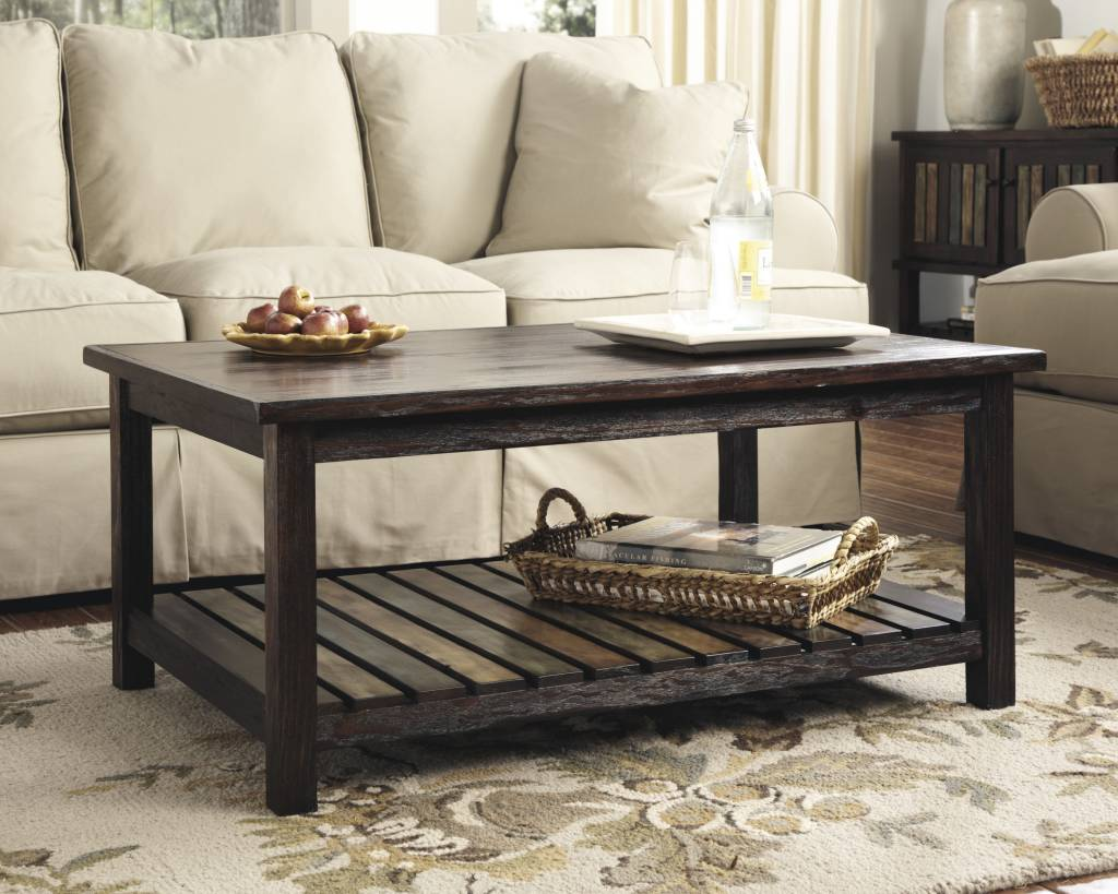 Signature Design Mestler, Rectangular Cocktail Table, Rustic Brown T580-1