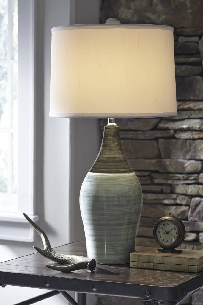 Signature Design Niobe Ceramic Table L& Set of 2 Multi-Gray L123884 & Signature Design Niobe Ceramic Table Lamp Set of 2 Multi-Gray ...
