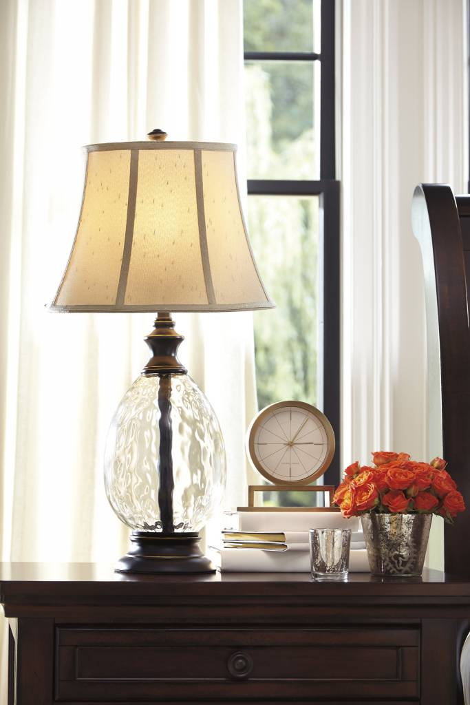 Signature Design Olivia, Glass Table Lamps Set of 2, Bronze Finish L440234