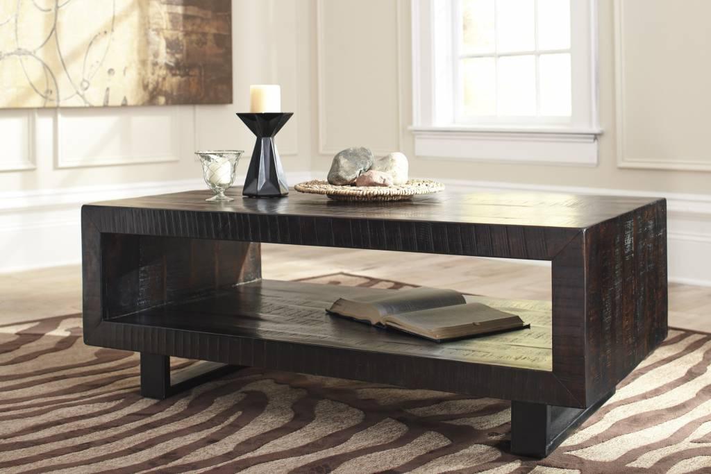 Signature Design Parlone, Rectangular Cocktail Table, Brown/Black T881-1
