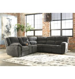 Signature Design Timpson, Left Arm Facing Double Reclining Loveseat With Console, Slate 6190105