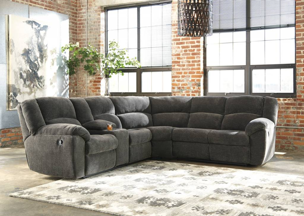 Signature Design Timpson, 2 Piece Sectional, LAF Double Reclining Loveseat w/Console, RAF Reclining Loveseat, Slate 61901 05, 49