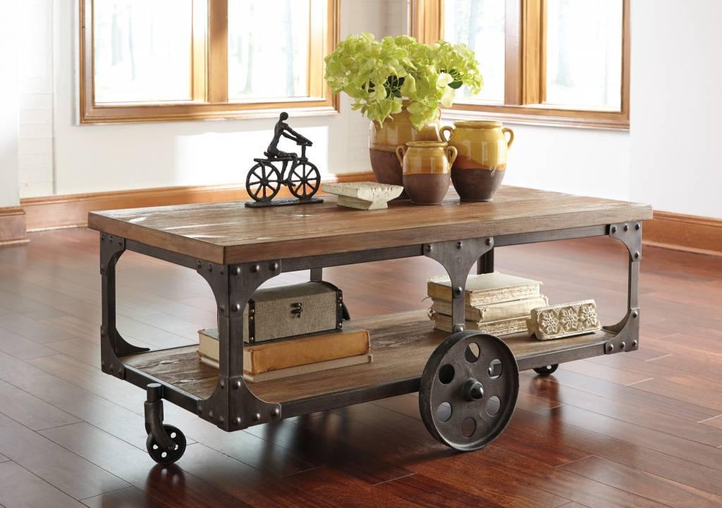 Signature Design Vennilux, Rectangular Cocktail Table, Gray/Brown T500-721