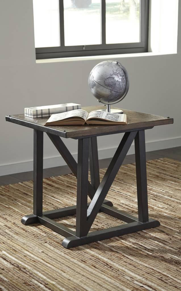 Signature Design Zenfield, Square End Table, Medium Brown T870-2
