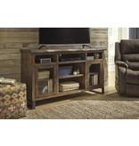 Signature Design Esmarina, Large TV Stand with Fireplace/Audio Option, Walnut Brown W815-48