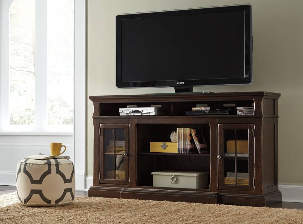 Signature Design Roddinton XL TV Stand w/Fireplace Option - Dark Brown, W701-88