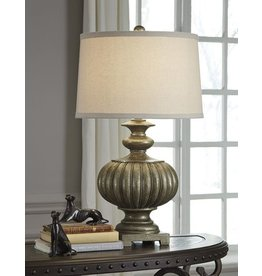 Signature Design Araminta Poly Table Lamp (1/CN) - Antique Gray
