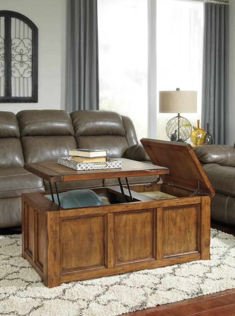 Signature Design Tamonie Rect Lift Top Cocktail Table - Medium Brown