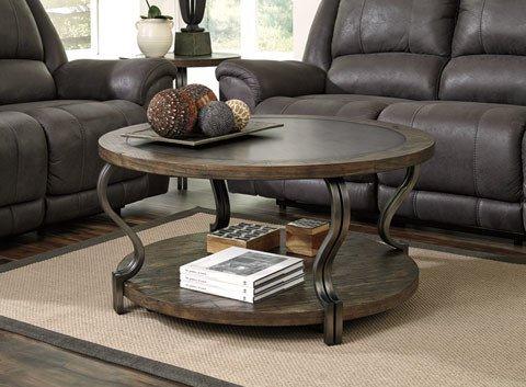Signature Design Volanta Round Cocktail Table - Caramel