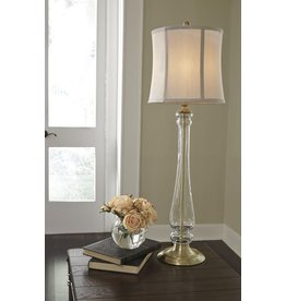 Signature Design Ardice Glass Table Lamp (1/CN) - Clear/Brass Finish