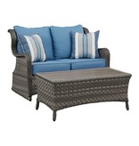 Signature Design Abbots Court Loveseat Glider w/Table (2/CN) - Blue/Gray