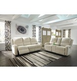 Signature Design Krismen, Power Reclining Loveseat with Console and Adjustable Power Headrest