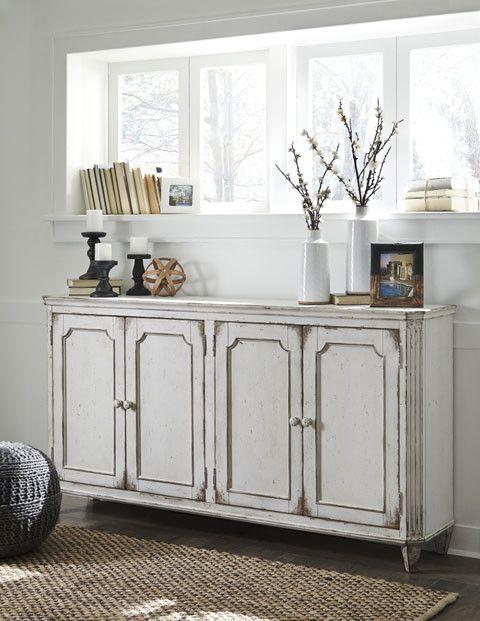 Signature Design Mirimyn Antique White Accent Cabinet