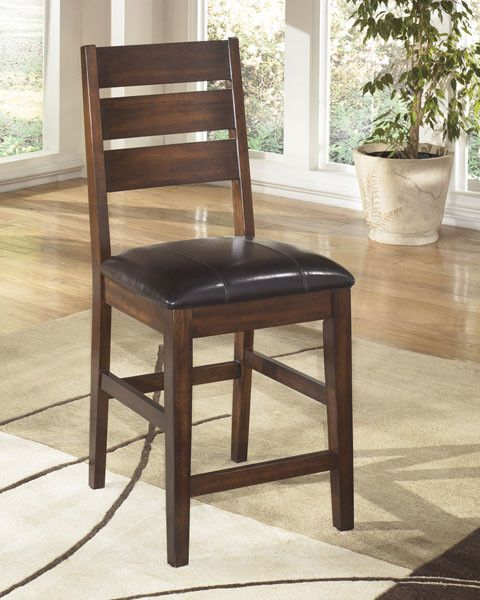 Larchmont Upholstered Barstool (2/CN) - Burnished Dark Brown
