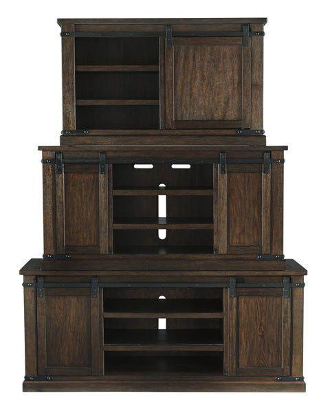Signature Design W562-48 Medium Budmore TV Stand, Barn Doors, Rustic Brown