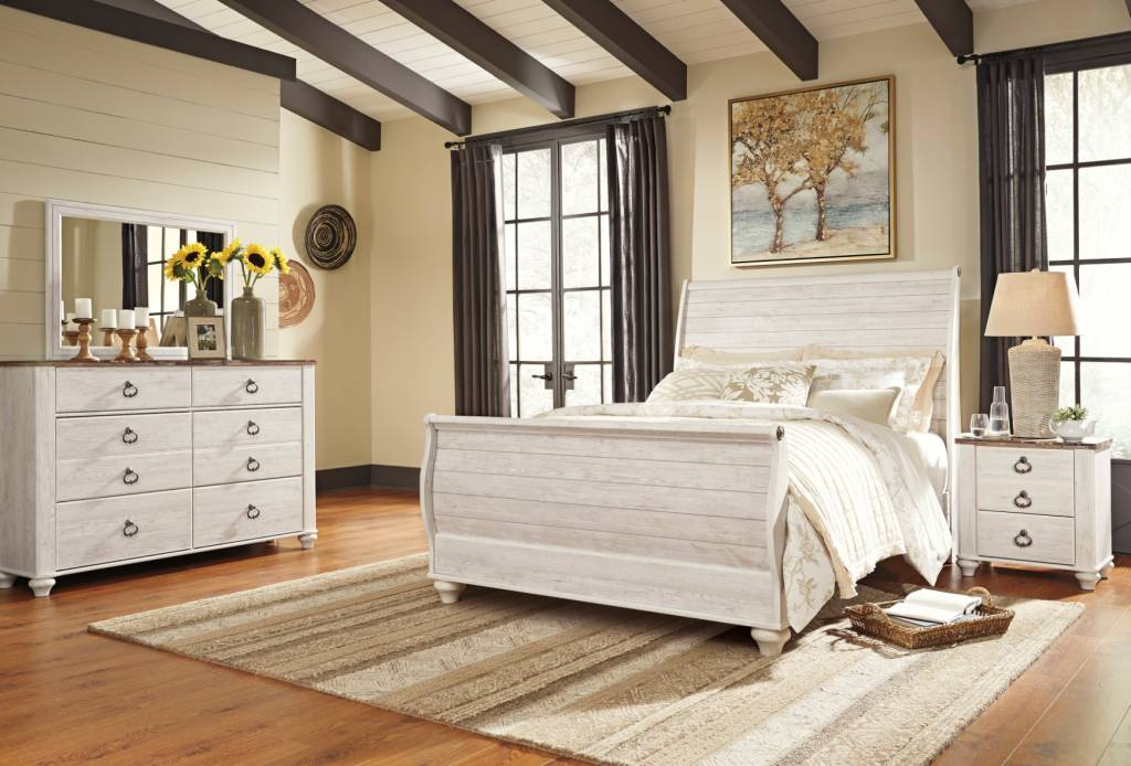 Signature Design Willowton Queen Sleigh Bed-Whitewash B267-74, 77, 96
