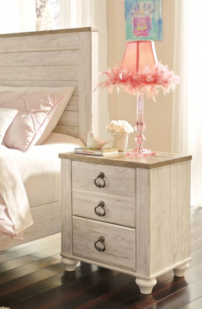 Signature Design Willowton Two Drawer Night Stand - Two-tone