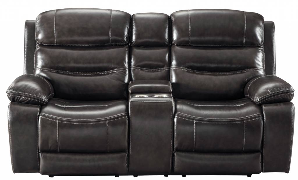 Signature Design Pillement, Power Reclining Loveseat with Console and Adjustable Headrest, Metal