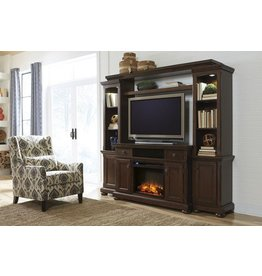 Signature Design Porter LG TV Stand w/Fireplace Option - Rustic Brown W697-38
