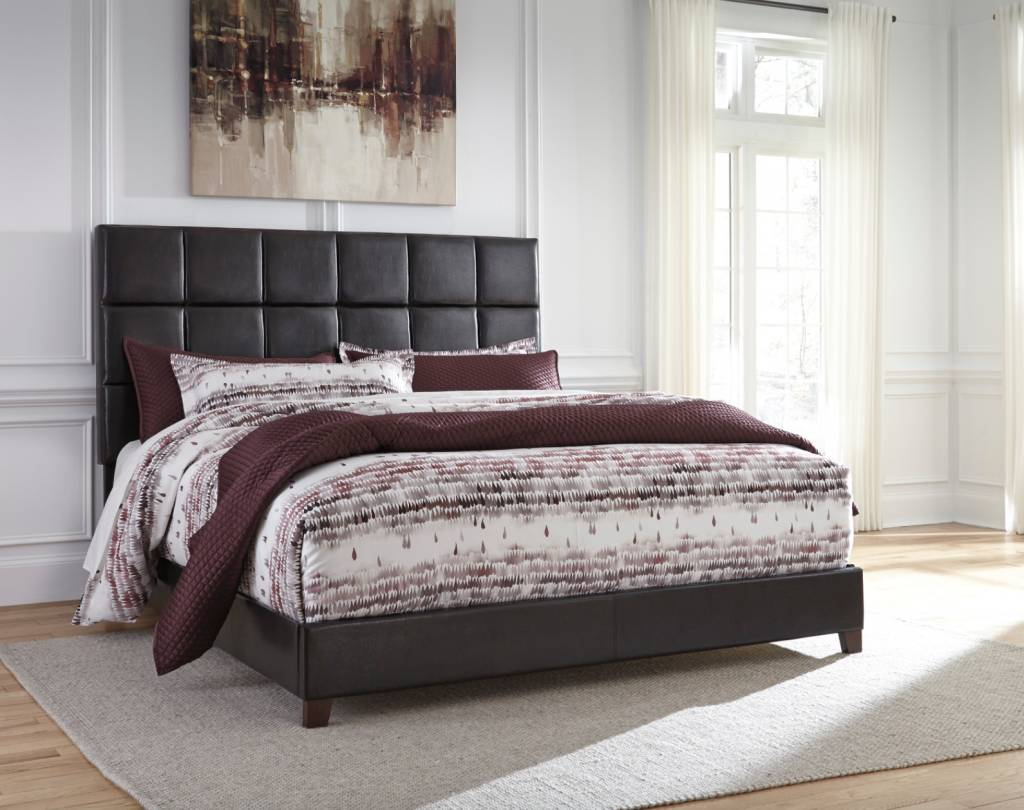 Signature Design King Upholstered Bed- Headboard, footboard, Rails- Dark Brown