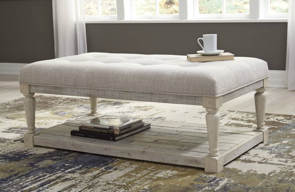 Signature Design Shawnalore White Wash Ottoman Coffee Table- T782-1