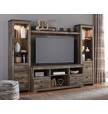 Signature Design Trinell, 4 Piece Entertainment Center With Fireplace Option, Brown, W446-68-24(2)-27