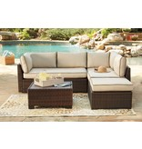 Signature Design Loughran Beige/Brown LOVESEATSEC/OTTO/TBL SET(4/CN) P300-070