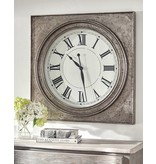 Signature Design Pelham- Wall Clock, Antique Silver Finish A8010132