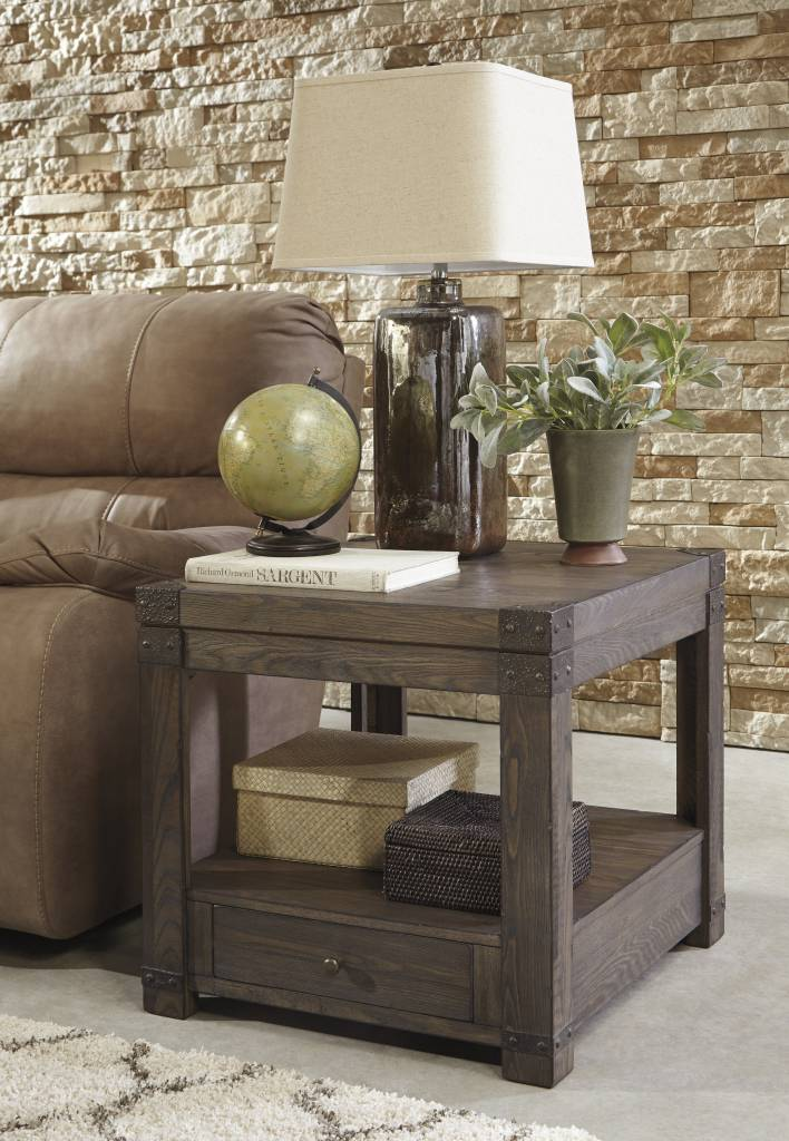 Signature Design RECTANGULAR END TABLE- Burladen, Grayish Brown T846-3