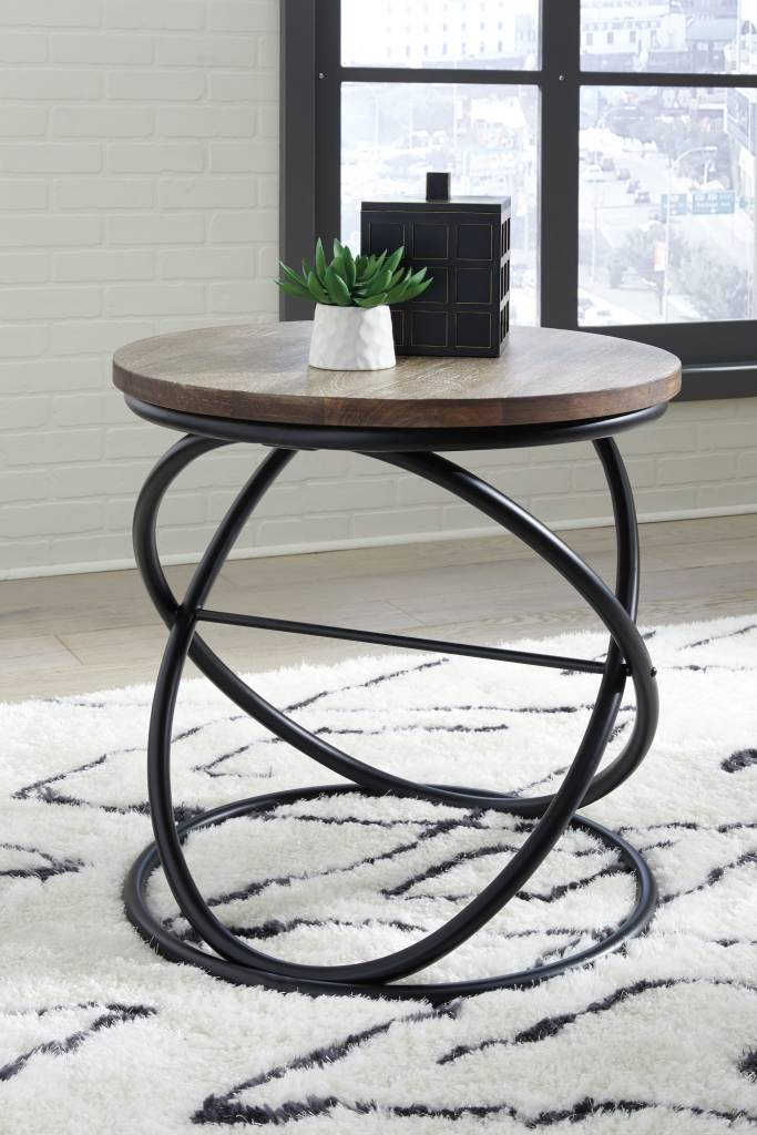 Signature Design Charliburli Round End Table Brown Black T644 6