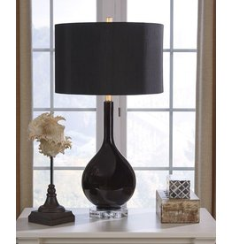 Signature Design Glass Table Lamp, Andres- Black L430504