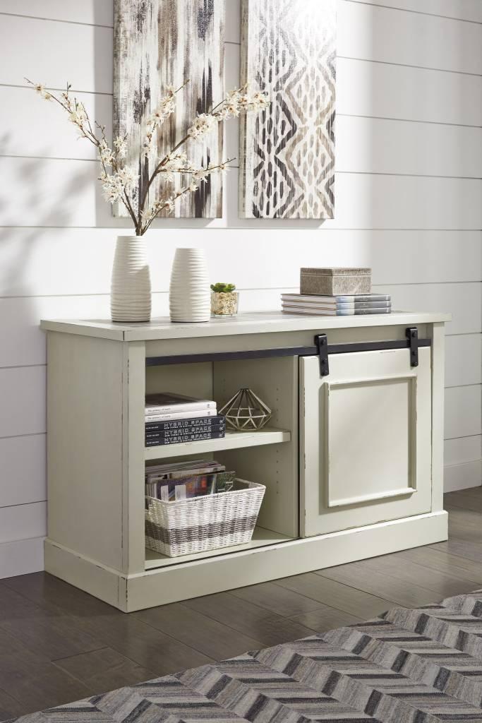 Signature Design Jonileene- Home Office Desk and Cabinet White/Gray H642-40/49