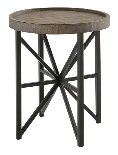 Cazentine Round End Table Grayinsh BrownBlack T Home Video - Round end table with doors