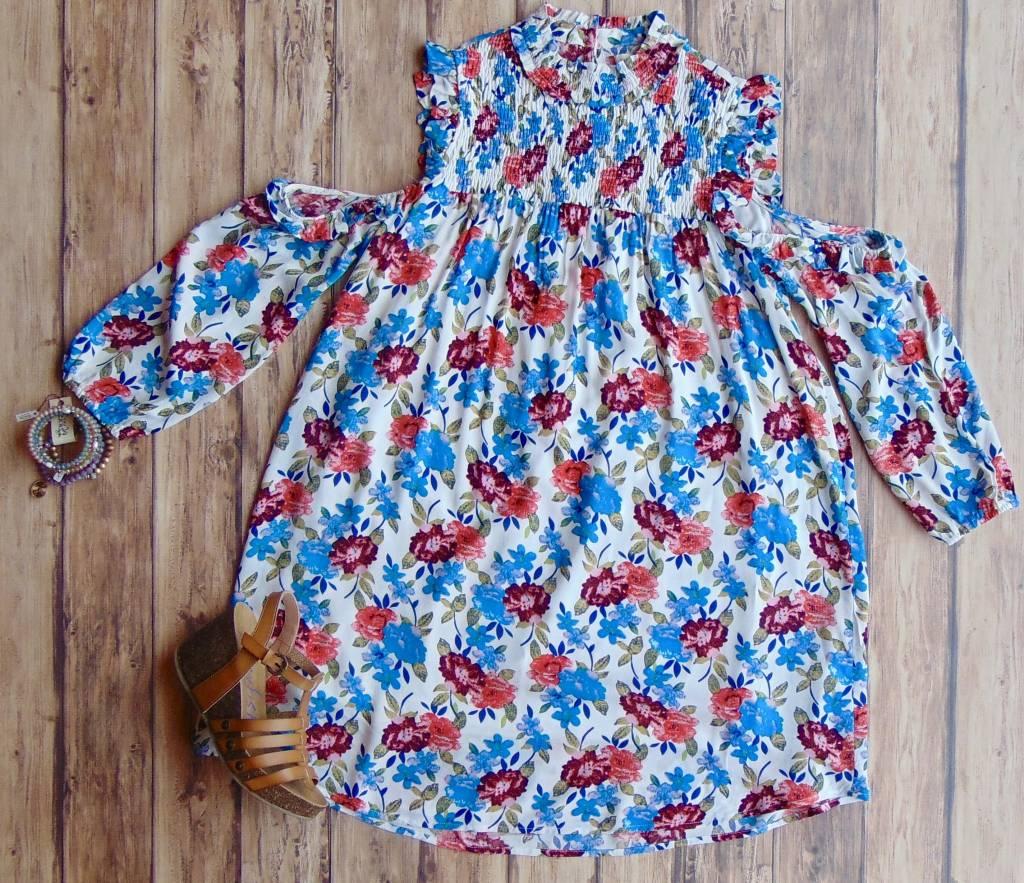 Wake Me Up Cold-Shoulder Mock Neck Dress