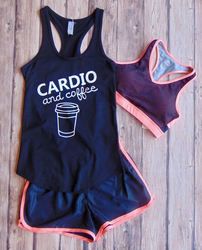 """Cardio and Coffee"" Printed Tank"