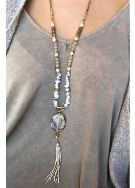 Tutelo Suede and Stone Necklace