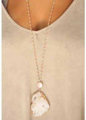 Merilyn Pearl and Druzy Pendant