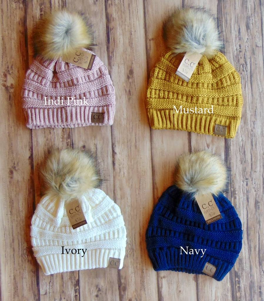 C.C. Knitted Beanie With Fur Pom