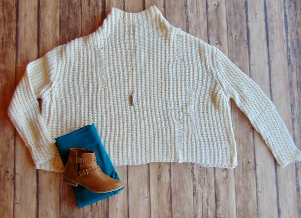 I'm In Distressed Chunky Knit Sweater