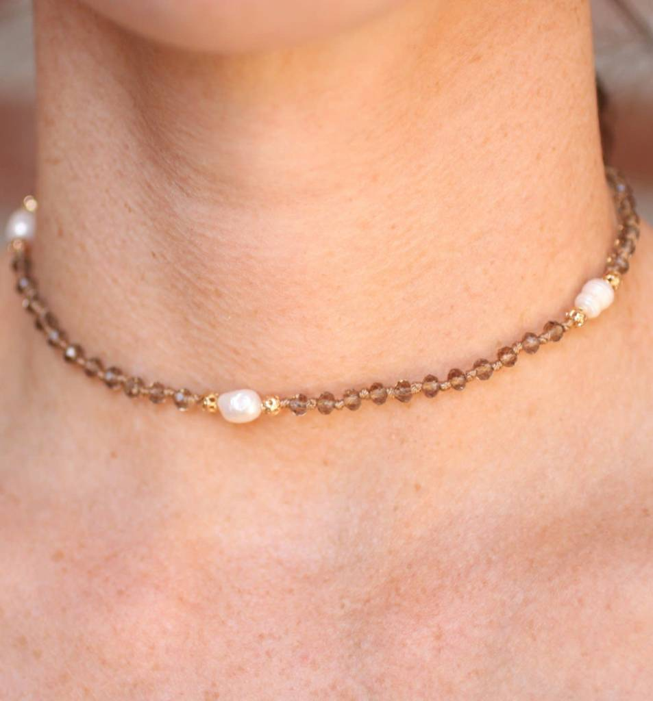 Hiram Glass Bead and Pearl Choker
